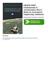 EBOOK $PDF Fundamentals of Astrodynamics (Dover Books on Aeronautical Engineering) Audiobook