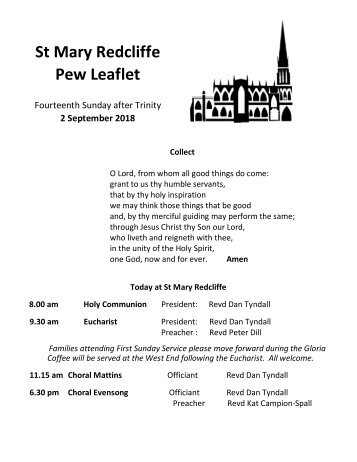 St Mary Redcliffe Church Pew Leaflet - September 2 2018