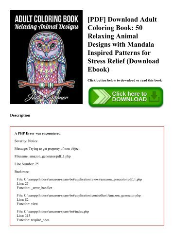 PDF Download Adult Coloring Book 50 Relaxing Animal Designs With Mandala Inspired Patterns For