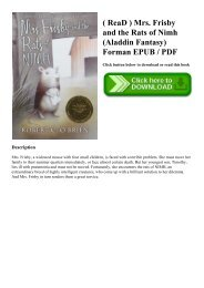 ( ReaD ) Mrs. Frisby and the Rats of Nimh (Aladdin Fantasy) Forman EPUB  PDF