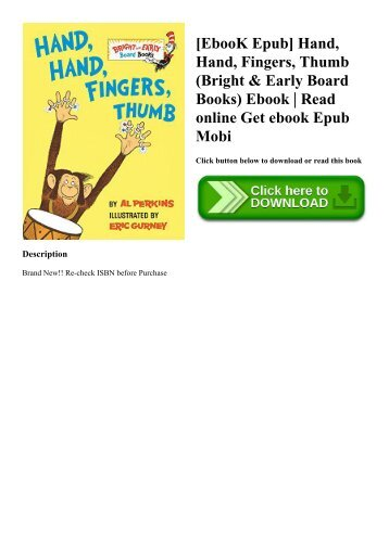[EbooK Epub] Hand  Hand  Fingers  Thumb (Bright & Early Board Books) Ebook  Read online Get ebook Epub Mobi