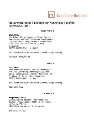 Neuerwerbungen Bibliothek der Kunsthalle Bielefeld September 2011