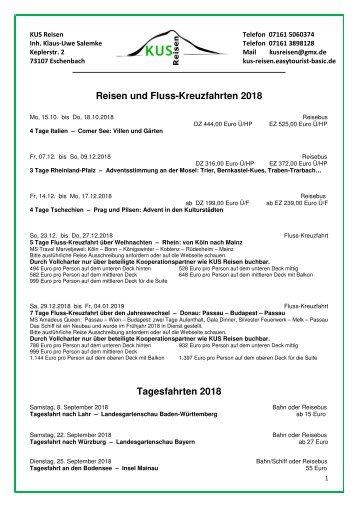 REISEN, FLUSSKREUZFAHRTEN, TAGESFAHRTEN - 2018 und 2019 - KUS Reisen, 73107 Eschenbach und 73035 Göppingen