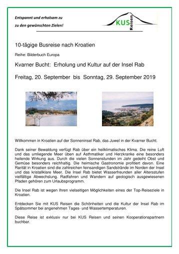 Kroatien - Kvarner Bucht - Insel Rab - 10 Tage Busreise - 20. bis 29. September 2019 - KUS Reisen 73107 Eschenbach und 73035 Goeppingen