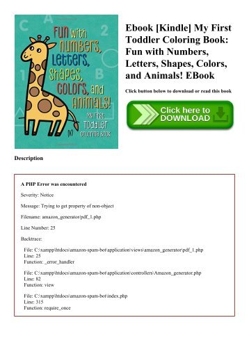 Ebook [Kindle] My First Toddler Coloring Book Fun with Numbers  Letters  Shapes  Colors  and Animals! EBook