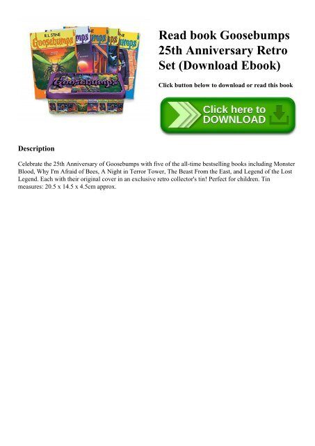 Read book Goosebumps 25th Anniversary Retro Set (Download Ebook)