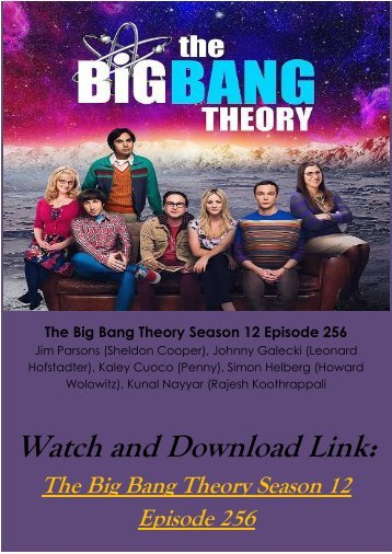 Watch Streaming 0Online TV SHOW The Big Bang Theory Season 12 Episode 256 Full Free