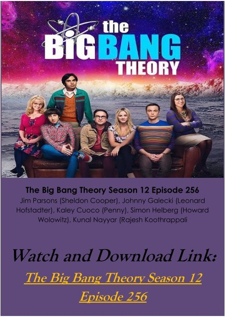 3bcdd54c9d3 Watch Streaming 0Online TV SHOW The Big Bang Theory Season 12 Episode 256  Full Free