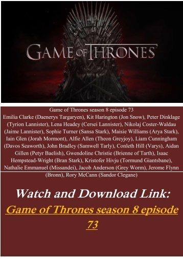 Watch Steaming Online TV Show Game of Thrones season 8 episode 73 Free hd-bluray