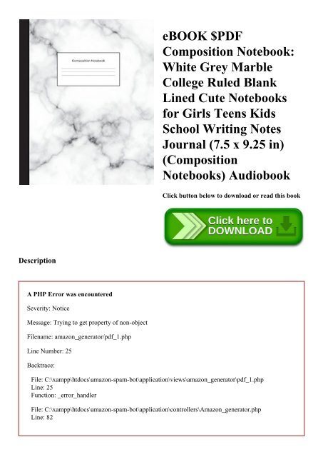 eBOOK $PDF Composition Notebook White Grey Marble College