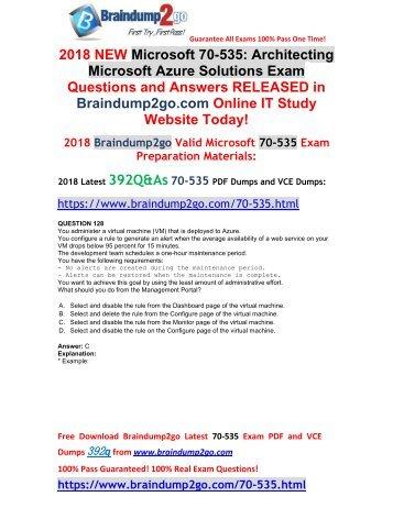 [2018-September-Version]Braindump2go 70-535 Dumps VCE 392Q Free Download(128-138)