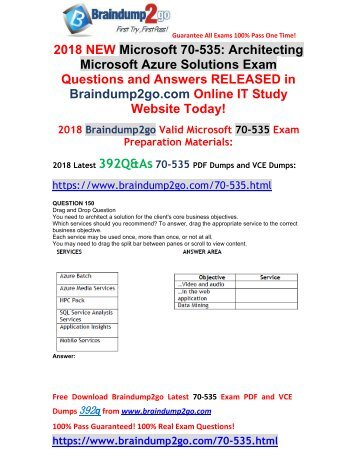 [2018-September-Version]Braindump2go 70-535 VCE and PDF Dumps 392Q Free Download(150-160)