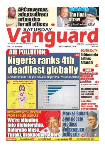 01092018 - AIR POLLUTION : Nigeria ranks 4th deadliest globally