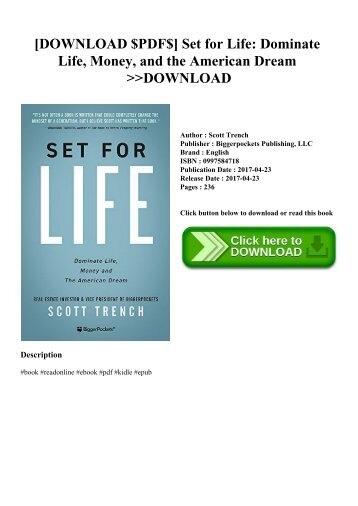 [DOWNLOAD $PDF$] Set for Life Dominate Life  Money  and the American Dream DOWNLOAD