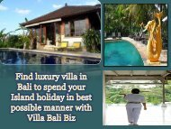 Find luxury villa in Bali to spend your Island holiday in best possible manner with Villa Bali Biz