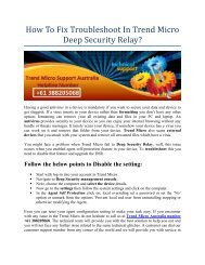 How To Fix Troubleshoot In Trend Micro Deep Security Relay?