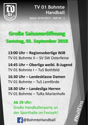 Hallenheft Nr. 1 2018/2019 - TV 01 Bohmte