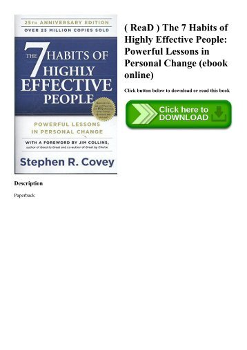 ( ReaD ) The 7 Habits of Highly Effective People Powerful Lessons in Personal Change (ebook online)