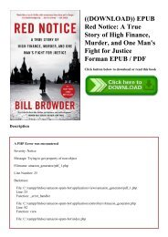 ((DOWNLOAD)) EPUB Red Notice A True Story of High Finance  Murder  and One Man's Fight for Justice Forman EPUB  PDF