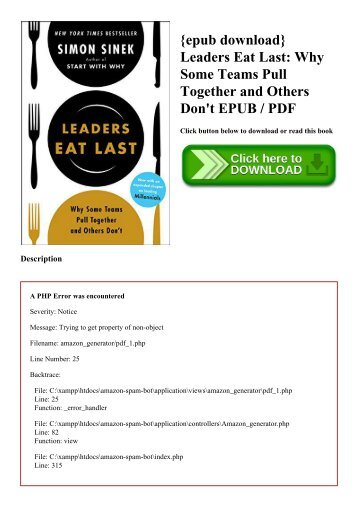 {epub download} Leaders Eat Last Why Some Teams Pull Together and Others Don't EPUB  PDF