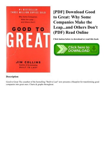[PDF] Download Good to Great Why Some Companies Make the Leap...and Others Don't (PDF) Read Online