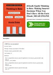 [EbooK Epub] Thinking in Bets Making Smarter Decisions When You Don't Have All the Facts Ebook  READ ONLINE