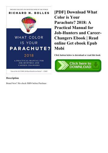 [PDF] Download What Color is Your Parachute 2018 A Practical Manual for Job-Hunters and Career-Changers Ebook  Read online Get ebook Epub Mobi
