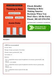 Ebook [Kindle] Thinking in Bets Making Smarter Decisions When You Don't Have All the Facts Ebook  READ ONLINE