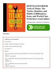 DOWNLOAD EBOOK Tools of Titans The Tactics  Routines  and Habits of Billionaires  Icons  and World-Class Performers {read online}