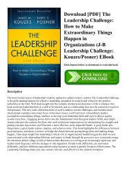 Download [PDF] The Leadership Challenge How to Make Extraordinary Things Happen in Organizations (J-B Leadership Challenge KouzesPosner) EBook