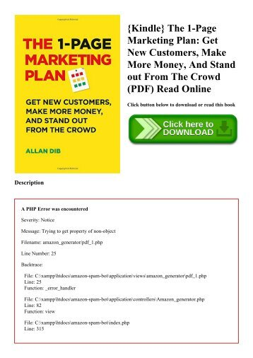 {Kindle} The 1-Page Marketing Plan Get New Customers  Make More Money  And Stand out From The Crowd (PDF) Read Online