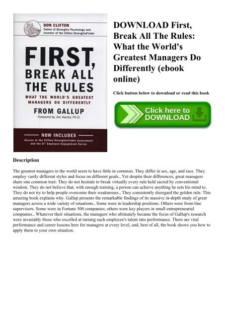 First Break All The Rules Ebook