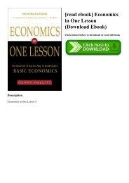 Economics In One Lesson Ebook