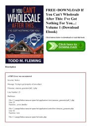 FREE~DOWNLOAD If You Can't Wholesale After This I've Got Nothing For You... Volume 1 (Download Ebook)