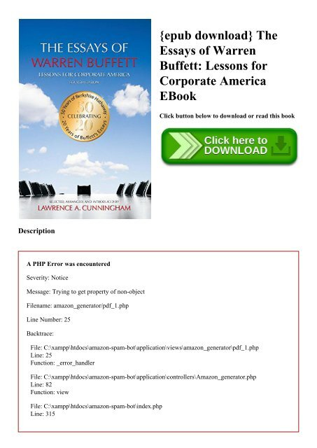 epub download} The Essays of Warren Buffett Lessons for Corporate ...