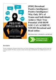 [PDF] Download Positive Intelligence Positive Intelligence Why Only 20% of Teams and Individuals Achieve Their True Potential AND HOW YOU CAN ACHIEVE YOURS Download and Read online