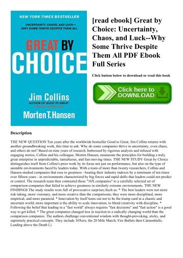 [read ebook] Great by Choice Uncertainty  Chaos  and Luck--Why Some Thrive Despite Them All PDF Ebook Full Series