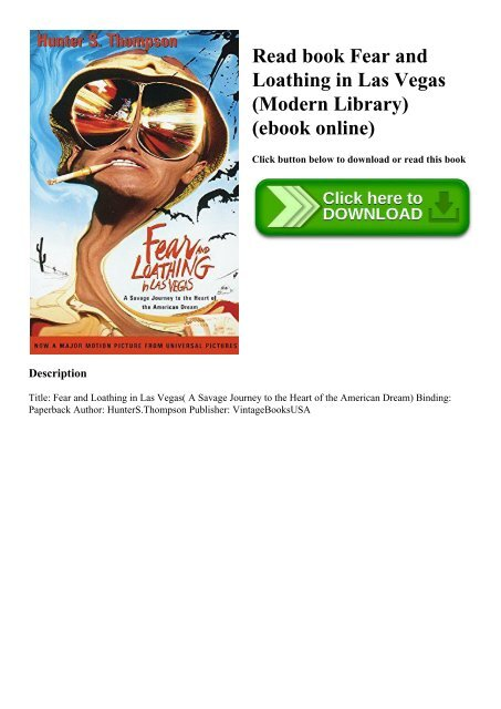 Read Book Fear And Loathing In Las Vegas Modern Library Ebook Online