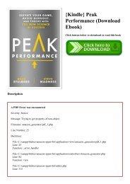 {Kindle} Peak Performance (Download Ebook)