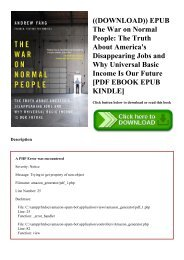 ((DOWNLOAD)) EPUB The War on Normal People The Truth About America's Disappearing Jobs and Why Universal Basic Income Is Our Future [PDF EBOOK EPUB KINDLE]