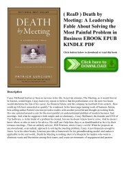 ( ReaD ) Death by Meeting A Leadership Fable About Solving the Most Painful Problem in Business EBOOK EPUB KINDLE PDF