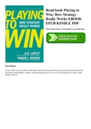 Playing To Win How Strategy Really Works Epub