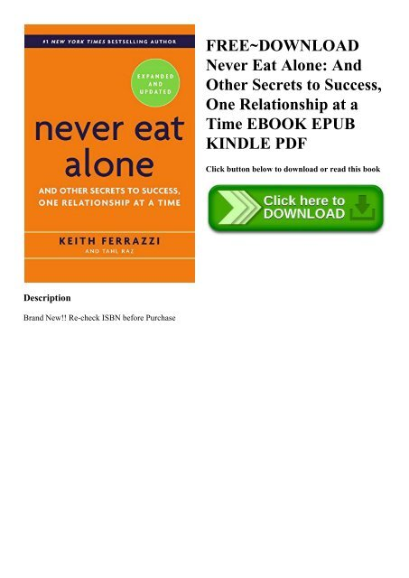 FREE DOWNLOAD Never Eat Alone And Other Secrets To Success