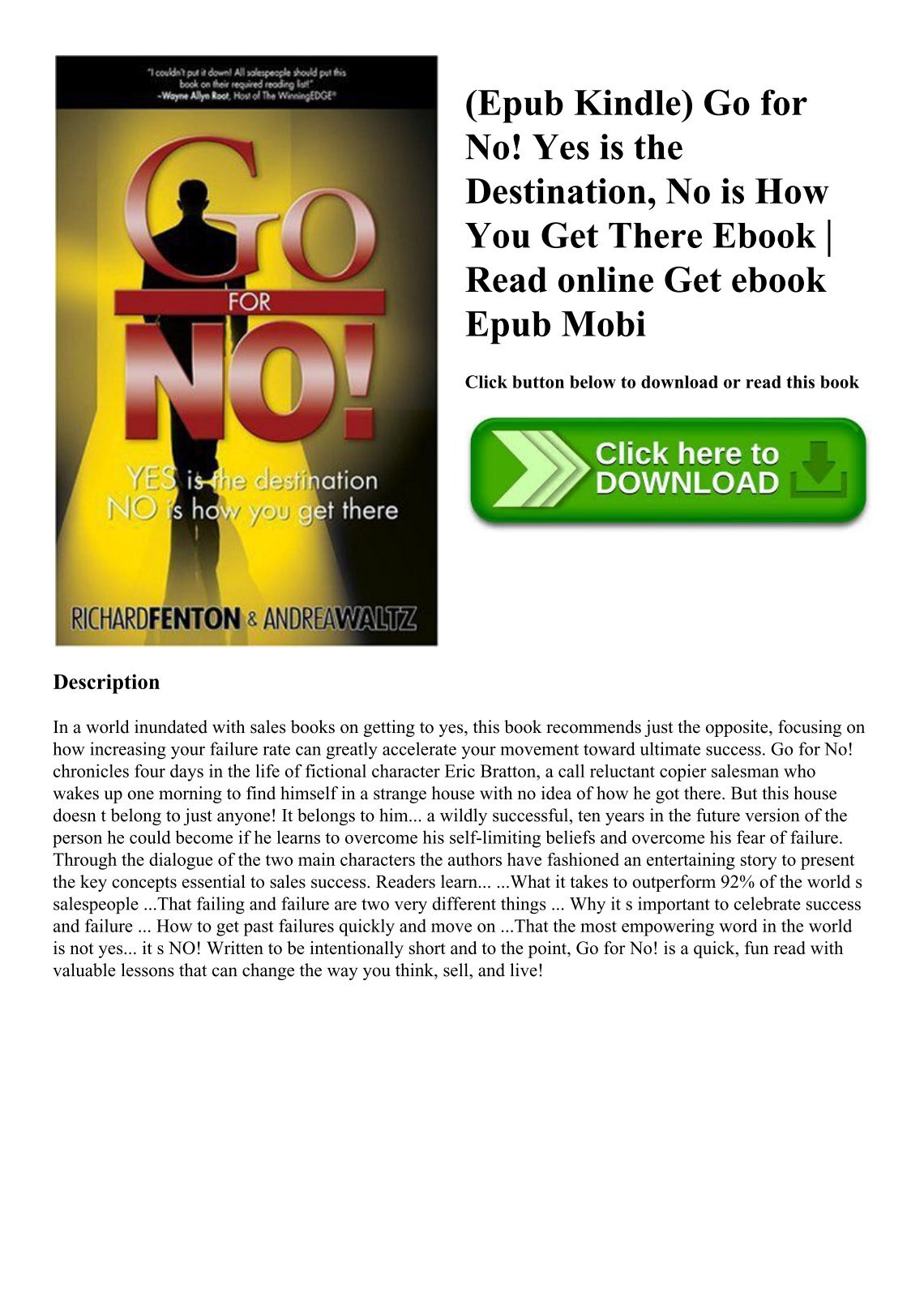 mostf4rkarleeratke3. English; |; 4 Documents; |; 0 Views. (Epub Kindle) Go  for No! Yes is the Destination No is How You