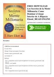 FREE~DOWNLOAD Los Secretos de la Mente Millonaria Como Dominar el Juego Interior de A Riqueza Ebook  READ ONLINE