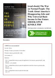 [read ebook] The War on Normal People The Truth About America's Disappearing Jobs and Why Universal Basic Income Is Our Future EBOOK EPUB KINDLE PDF
