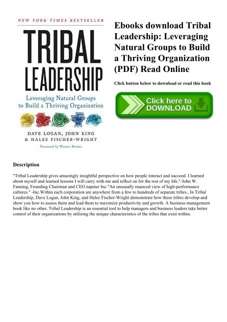 Ebooks download Tribal Leadership Leveraging Natural Groups to Build
