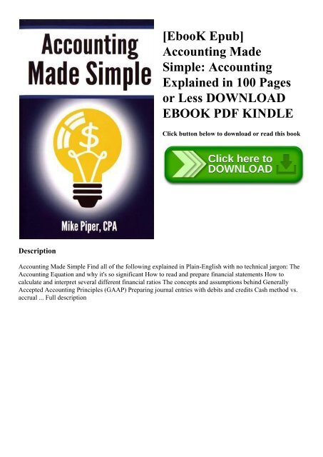 EbooK Epub] Accounting Made Simple Accounting Explained in