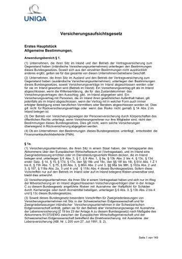 Versicherungsaufsichtsgesetz - Uniqa