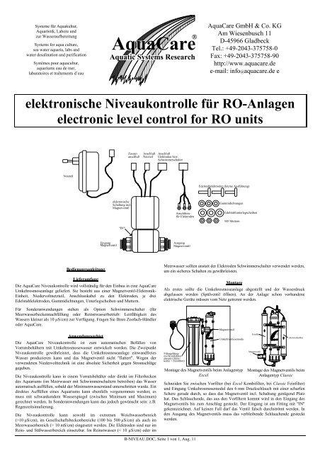 elektronische Niveaukontrolle für RO-Anlagen electronic level ...
